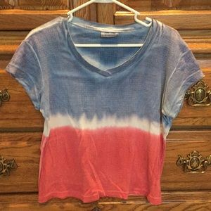 Red white and blue tye dye vintage vneck